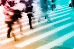 People crowd on zebra crossing street Royalty Free Stock Image