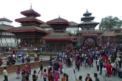 People in Durbar Square with visible damages after the earthquake, Kathmandu, Nepal stock photography