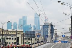 People crowds watch First Moscow Parade of City Transport Royalty Free Stock Images