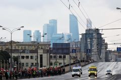 People crowds watch First Moscow Parade of City Transport Royalty Free Stock Photography