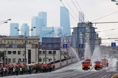 People crowds watch First Moscow Parade of City Transport Stock Photography