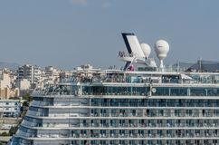 People on cruise ship. In the harbor of a city Stock Photos