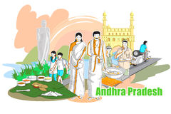 People and Culture of Andhra Pradesh, India. Easy to edit vector illustration of people and culture of Andhra Pradesh, India Stock Images