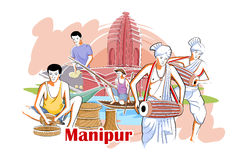 People and Culture of Manipur, India vector illustration