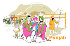 People and Culture of Punjab, India. Easy to edit vector illustration of people and culture of Punjab, India Royalty Free Stock Photo