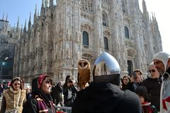 People curious of nature during Carnival celebration at Duomo square. Royalty Free Stock Photo