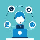 People customer service. Operator with headset working laptop customer service vector illustration vector illustration