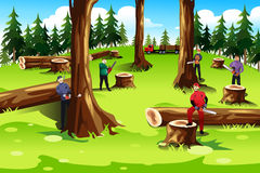 People Cutting Down Trees Royalty Free Stock Photo