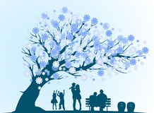 People cycle of life with decorative blue tree silhouette Royalty Free Stock Photos