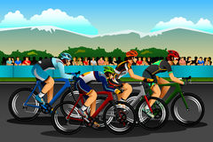 People Cycling in the Competition Stock Image