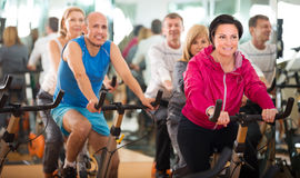 People cycling in a gym Stock Photos