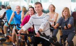 People cycling in a gym. Group of active people cycling in a gym Stock Photo