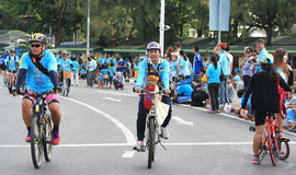 People cycling together in the event BIKE FOR MOM Royalty Free Stock Photo