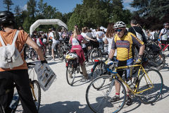 People at the Cyclopride meeting in Milan Stock Image