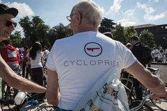 People at the Cyclopride meeting in Milan Royalty Free Stock Images