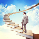 Knowledge stair. People on 3d books stair Royalty Free Stock Photos
