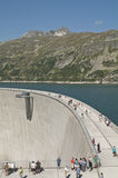 People on the Dam of the Maltatal. The Huge Dam of the Maltatal, Carinthia, Austria Royalty Free Stock Photos
