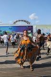 People dance on the Coney Island Boardwalk in Brooklyn Stock Photography