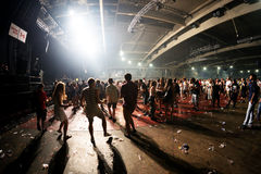 People dance in an electronic concert at Sonar Festival. BARCELONA - JUN 19: People dance in an electronic concert at Sonar Festival on June 19, 2015 in royalty free stock photo