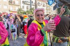 People dance festively at the carnival of Viareggio, Tuscany, Italy stock photography