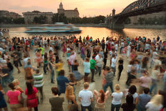 People dance on Frunzenskaya embankment Royalty Free Stock Photo