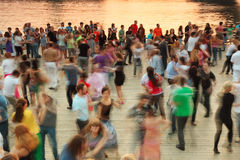 People dance on Frunzenskaya embankment Stock Images
