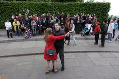 People dance in Glory Park on Victory Day in Kiev Stock Photos