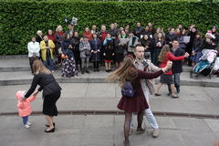People dance in Glory Park on Victory Day in Kiev Stock Photography