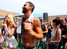 People dance and have fun at Sonar Festival Royalty Free Stock Image