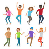 People Dance Illustration. Big Set of Characters. People smile and stand in different dance positions. Young male and female cartoon characters in bright clothes Royalty Free Stock Photos