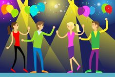 People dance in night club party flat design. Vector illustration Stock Photos