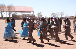 People dance and play music in a village of Bolivia Royalty Free Stock Image