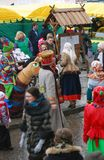 People dance on the street. Shrovetide celebration in Moscow Royalty Free Stock Photography