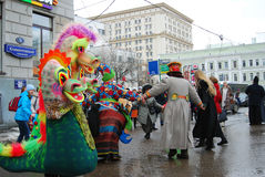 People dance on the street. Shrovetide celebration in Moscow Stock Photo