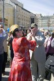 People dance on Theater Square in Moscow. Stock Photography
