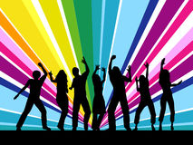People dancing. Colourful silhouettes of young people dancing on black background Stock Photo
