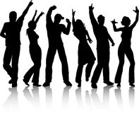 People dancing. Silhouettes of people dancing on white background Royalty Free Stock Images