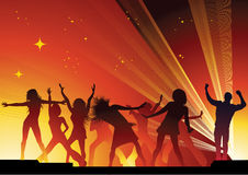 People dancing. And red background Royalty Free Stock Image