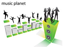 People dancing. Illustration of people dancing on loudspeaker royalty free illustration