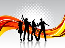 People dancing. Silhouettes of people dancing on retro background Royalty Free Stock Image