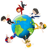 People dancing around the world Royalty Free Stock Image