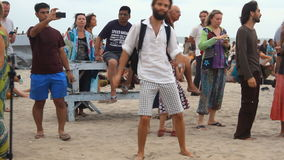 People dancing on the beach. Unidentified people dancing on the beach. Goa state Arambol beach stock video footage