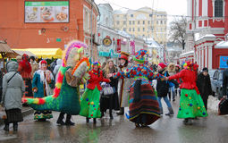 People dancing celebrating Shrovetide Royalty Free Stock Photo