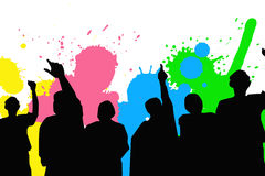 People dancing on a color background Stock Photography