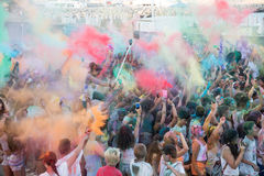 People dancing in colored war event, Larnaca, Cyprus Stock Photos