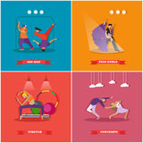 People dancing in different styles. Breakdance, paso doble, contemporary dance. Vector illustration in flat design Royalty Free Stock Photos
