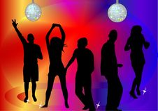 People dancing in the disco. Illustration vector illustration