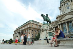 People dancing in front of the Buda castle Royalty Free Stock Photos