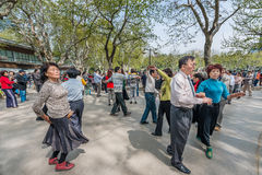 People dancing in fuxing park shanghai china Royalty Free Stock Photos