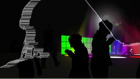 People dancing with green screens stock illustration